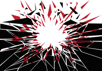 A design element silhouette of an impact creating shattered shards.