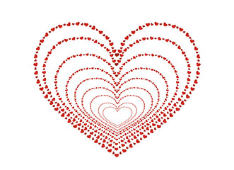 The composition of red hearts. Valentine's Day. Greeting card.