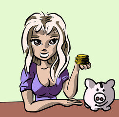 Meisje laat spaargeld en spaarvarken zien