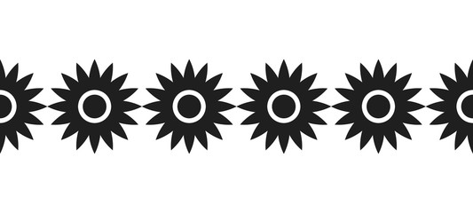 Border of black silhouetted flowers for decoration, scrapbooking, greeting cards