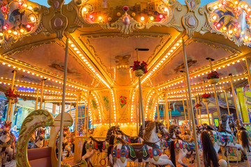 Still Carousel Or Marry-Go-Round With Light Decoration Night Atm