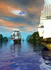 alcune navi pirata entrano nella baia navigando su un mare calmo