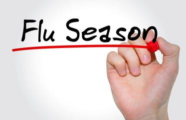 "Hand writing inscription ""Flu Season"" with marker, concept"