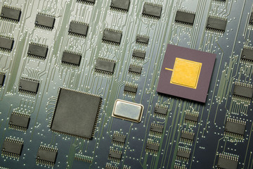 Top view of electronic board with cpu processor and electronic c