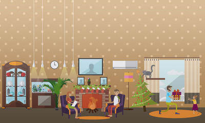 Vector illustration of cozy fireplace with christmas decorations, flat style
