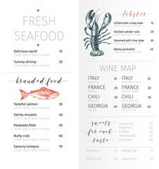 Vector set for seafood restaurant branding. Flyer, brochure, banner. Hand drawn vintage elements.
