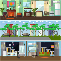 Vector set of family interior concept design elements, flat style