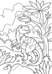 cartoon tyrannosaurus wanders in search of prey