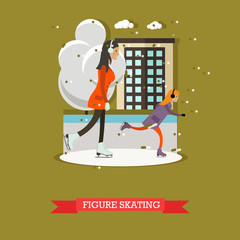 Vector illustration of mother with daughter skating in flat design