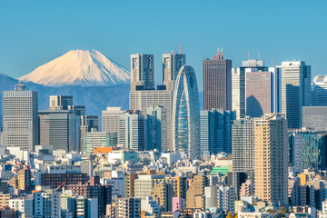 Self adhesive Wall Murals Tokyo Tokyo skyline and Mountain fuji