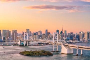 Fotomurales - Tokyo skyline with Tokyo tower and rainbow bridge