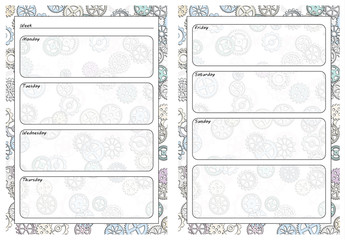 Set of pages template for daily planner. Printable, for scrapbook. Gears design. Part 3. Page for every day in week notes. Vector illustration.