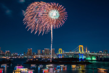 Fireworks and Tokyo skyline