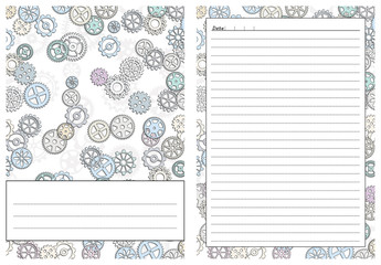 Set Of Pages Template For Daily Planner. Printable, For Scrapbook. Gears  Design.  Diary Paper Printable