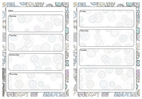 photograph regarding Gears Printable identify Fastened of webpages template for day-to-day planner. Printable, for