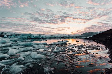 Icy sea at sunset