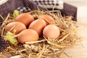 Fresh chicken eggs.
