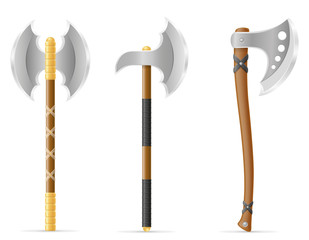 battle axe medieval stock vector illustration