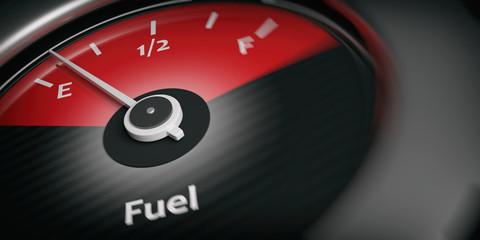 Car indicator fuel empty. 3d illustration