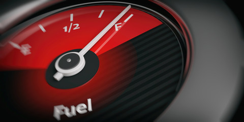 Car indicator fuel full. 3d illustration