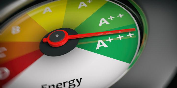 Energy efficiency as car speedometer. 3d illustration