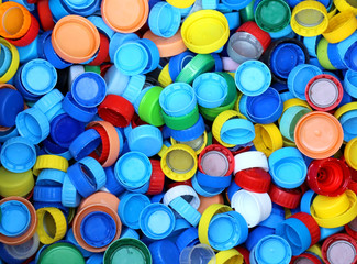 collection of many plastic caps for recycling the material
