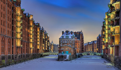 Speicherstadt Hamburg Winter Schnee Nacht