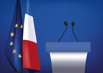 Pupitre - Discours - Politique - candidat - Drapeau