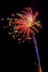 Colorful fireworks explosions in dark sky