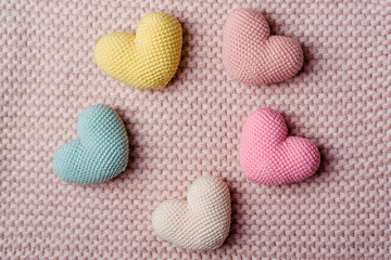 Heap of knitted hearts . Background Valentines Day.Valentines day cards.