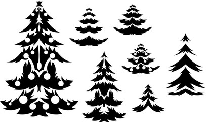 Christmas trees silhouette