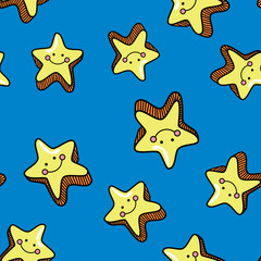 Seamless pattern with cute smiling stars on blue background.