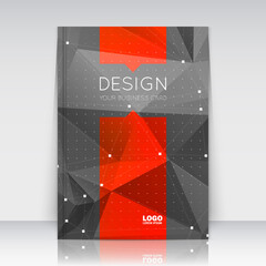 Abstract composition. Black, red font texture. Perforated dots construction. Text frame. A4 brochure title sheet. Creative figure icon. Commercial logo surface. Pointed banner form. Dark flier fiber
