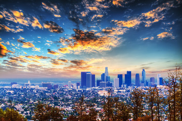Wall Mural - clouds over L.A. at sunset