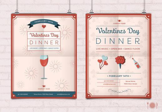 Valentine's Day Restaurant Poster Layout 1