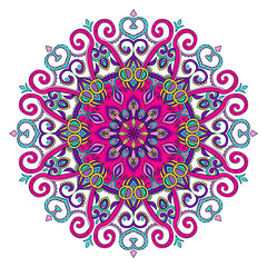 Vector hand-drawn oriental mandala, ethnic doodle mandala with colorful ornament, isolated decorative template, Islam, Arabic, Indian, ottoman motifs, EPS 10