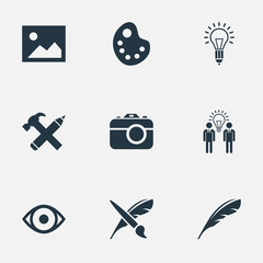 Set Of 9 Simple Creative Thinking Icons. Can Be Found Such Elements As Pencil, Brush, Lightbulb And Other.