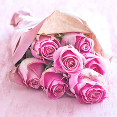 Beautiful bouquet of delicate pink roses .Floral gift for a wedding or birthday.