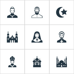 Set Of 9 Simple Faith Icons. Can Be Found Such Elements As Chapel, Mohammedanism, Pontiff And Other.