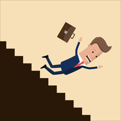 businessman or manager fall down of career ladder, or business. business concept.  Vector, illustration