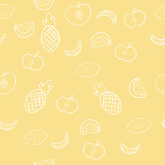 Summer fruts background pattern in vector.