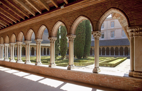 Cloister of medieval Saint-Jacobins church in Toulouse, France