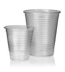 Two different plastic cups vertically