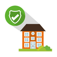 building home security button shadow vector illustration eps 10