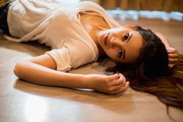 girl sleep on the floor, girl on the floor