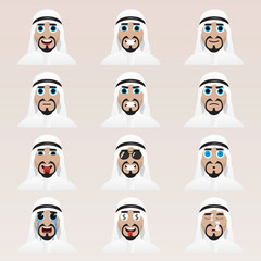 Set of cute arab man emoticons.