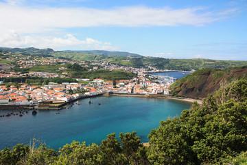 Fond de hotte en verre imprimé Nice Blick auf Horta, Faial ist die fünftgrößte Insel der portugiesischen Inselgruppe der Azoren.
