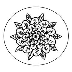 Эскиз тату красивый цветок чернилами на белом фоне