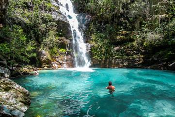 Deurstickers Watervallen Santa Barbara waterfall, Chapada dos Veadeiros, Brazil