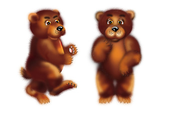 cute brown bear stay and go